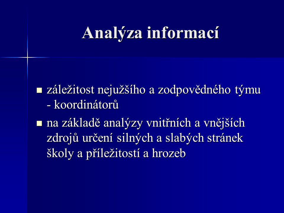 Analýza informací záležitost nejužšího a zodpovědného týmu - koordinátorů záležitost nejužšího a zodpovědného týmu - koordinátorů na základě analýzy v