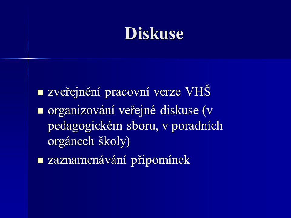 Diskuse zveřejnění pracovní verze VHŠ zveřejnění pracovní verze VHŠ organizování veřejné diskuse (v pedagogickém sboru, v poradních orgánech školy) or