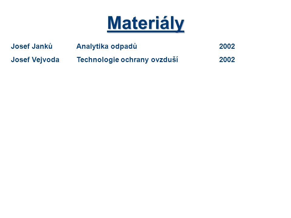 Materiály Josef JankůAnalytika odpadů2002 Josef VejvodaTechnologie ochrany ovzduší2002