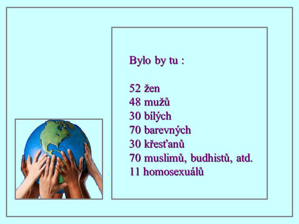 Bylo by tu : 52žen 48mužů 30bílých 70barevných 30křesťanů 70muslimů, budhistů, atd. 11 homosexuálů