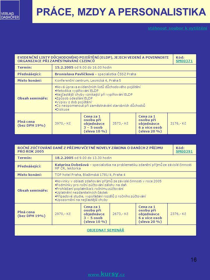 16 PRÁCE, MZDY A PERSONALISTIKA EVIDENČNÍ LISTY DŮCHODOVÉHO POJIŠTĚNÍ (ELDP), JEJICH VEDENÍ A POVINNOSTI ORGANIZACE PŘI ZAMĚSTNÁVÁNÍ CIZINCŮ Kód: SM00