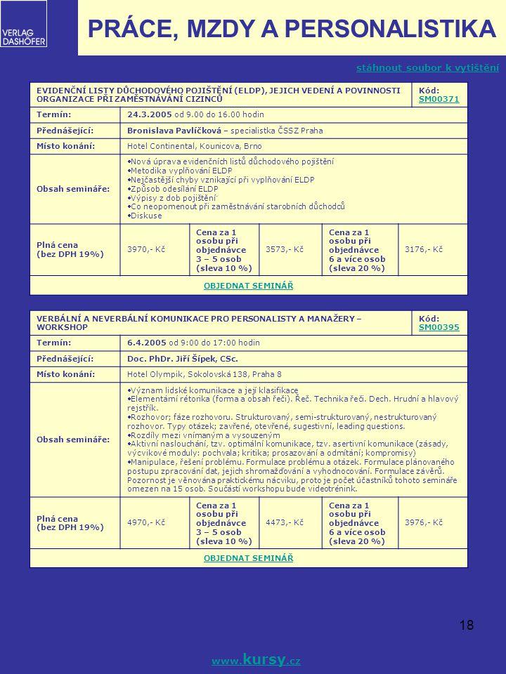 18 EVIDENČNÍ LISTY DŮCHODOVÉHO POJIŠTĚNÍ (ELDP), JEJICH VEDENÍ A POVINNOSTI ORGANIZACE PŘI ZAMĚSTNÁVÁNÍ CIZINCŮ Kód: SM00371 SM00371 Termín:24.3.2005