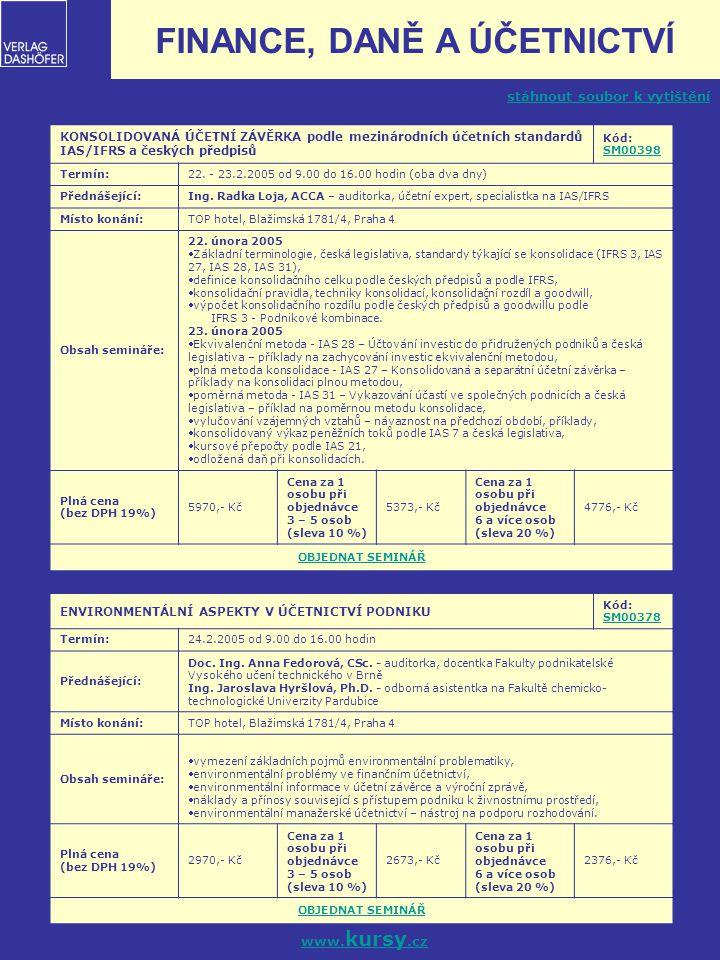 6 DISKUSNÍ FÓRUM PRO BYTOVÁ DRUŽSTVA A SVJ – JAK ŘEŠIT ÚČETNÍ A DAŇOVÉ PROBLÉMY V PRAXI Kód: SM00344 SM00344 Termín:28.2.2005 od 8.30 do 17.00 hodin Přednášející: Ing.