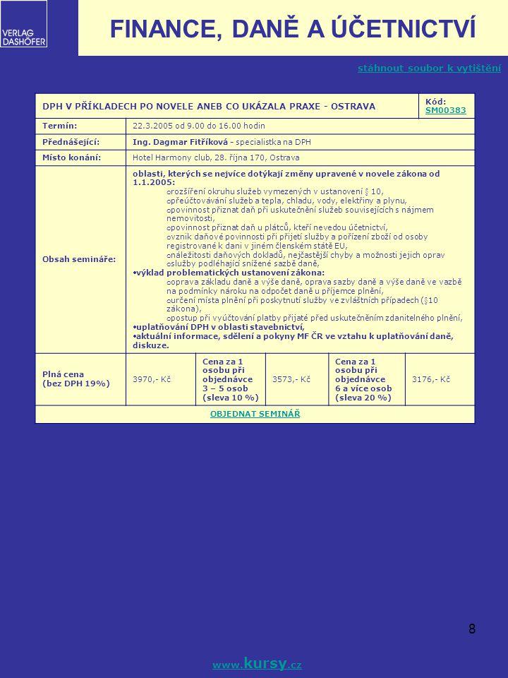 8 DPH V PŘÍKLADECH PO NOVELE ANEB CO UKÁZALA PRAXE - OSTRAVA Kód: SM00383 SM00383 Termín:22.3.2005 od 9.00 do 16.00 hodin Přednášející:Ing. Dagmar Fit