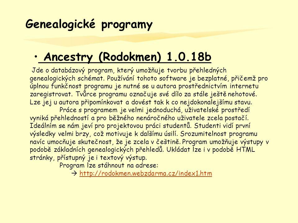 - Ancestry (Rodokmen) 1.0.18b – vytvoření nového souboru 1.