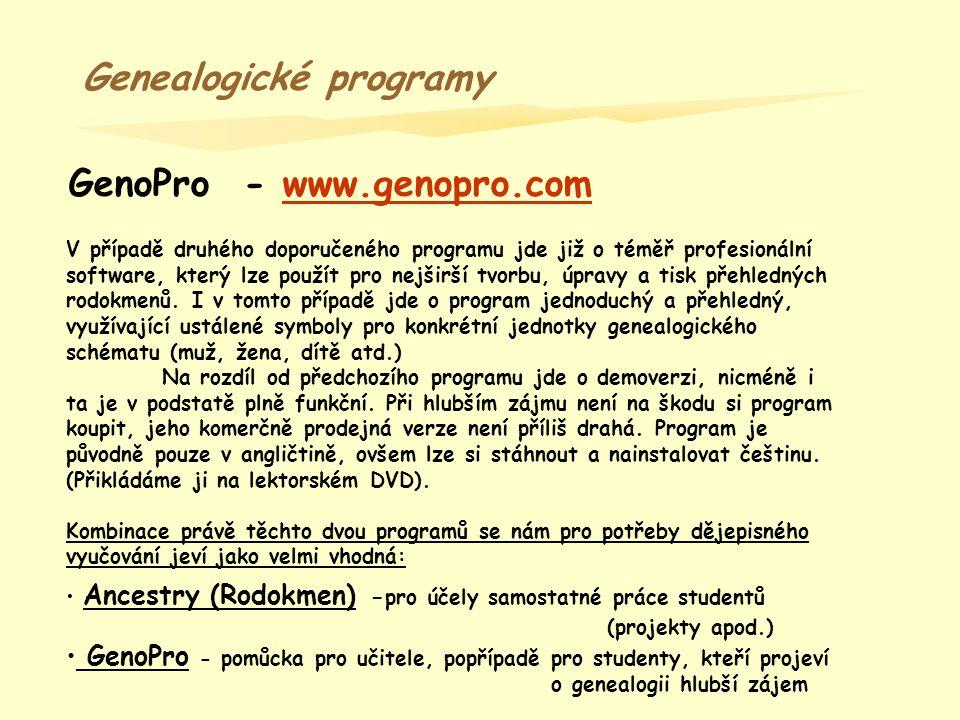 GenoPro Na rozdíl od programu Ancestry, zde genealogický strom vytváříme přímo na pracovní ploše.