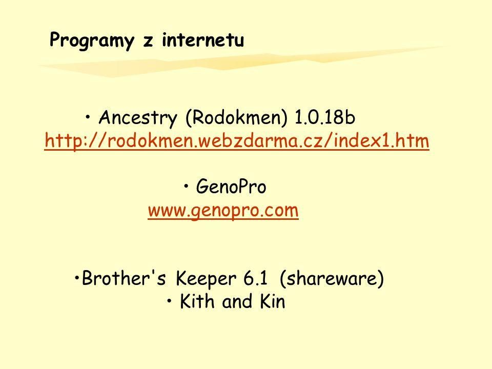 Programy z internetu Ancestry (Rodokmen) 1.0.18b http://rodokmen.webzdarma.cz/index1.htm GenoPro www.genopro.com Brother's Keeper 6.1 (shareware) Kith