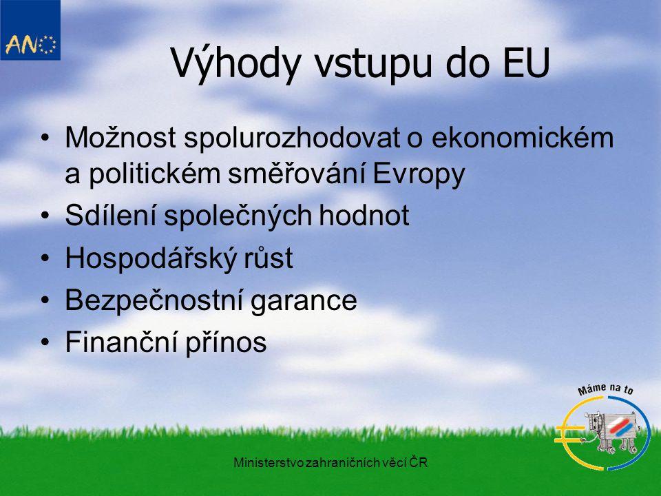 Ministerstvo zahraničních věcí ČR Výhody vstupu do EU Možnost spolurozhodovat o ekonomickém a politickém směřování Evropy Sdílení společných hodnot Hospodářský růst Bezpečnostní garance Finanční přínos