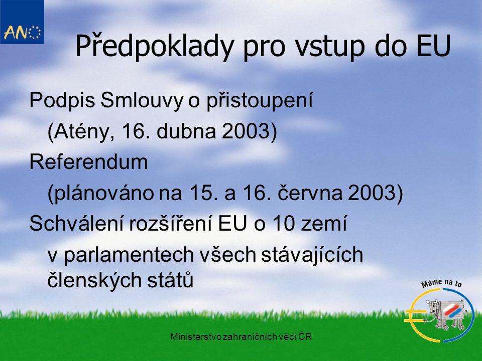 Ministerstvo zahraničních věcí ČR Předpoklady pro vstup do EU Podpis Smlouvy o přistoupení (Atény, 16.