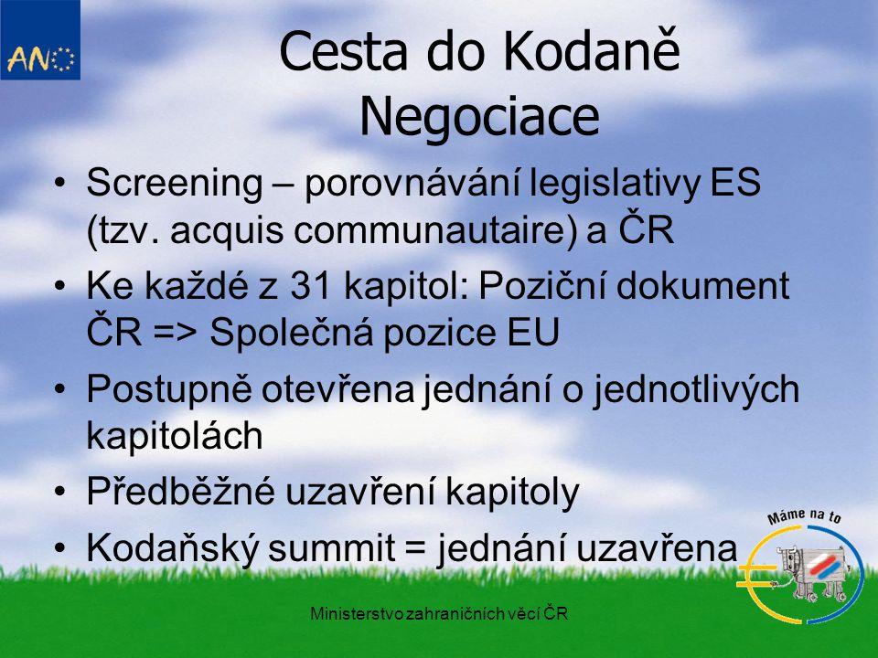 Ministerstvo zahraničních věcí ČR Cesta do Kodaně Negociace Screening – porovnávání legislativy ES (tzv.