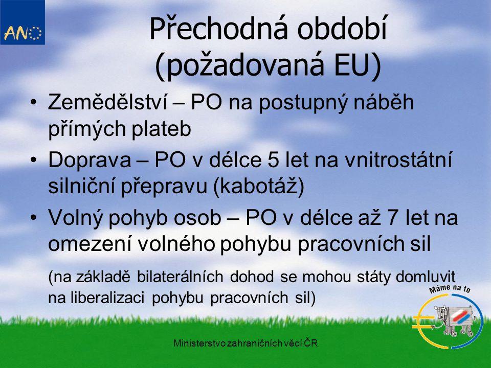 Ministerstvo zahraničních věcí ČR Přechodná období I.
