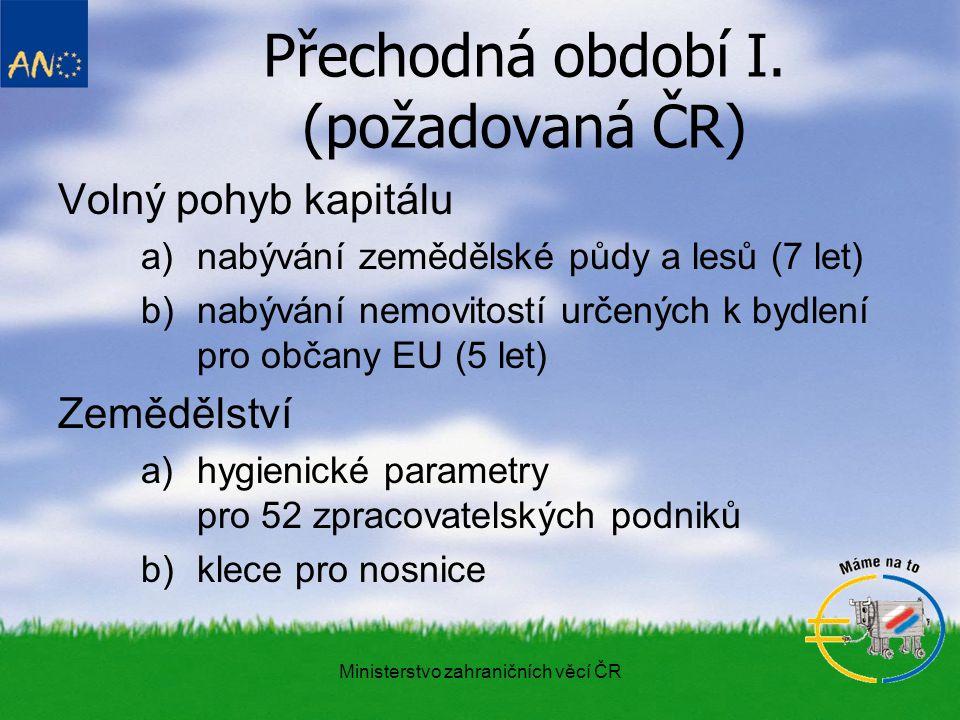 Ministerstvo zahraničních věcí ČR Přechodná období II.