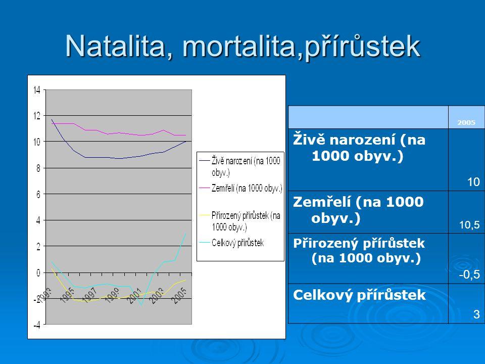 Natalita, mortalita,přírůstek 2005 Živě narození (na 1000 obyv.) 10 Zemřelí (na 1000 obyv.) 10,5 Přirozený přírůstek (na 1000 obyv.) -0,5 Celkový přírůstek 3