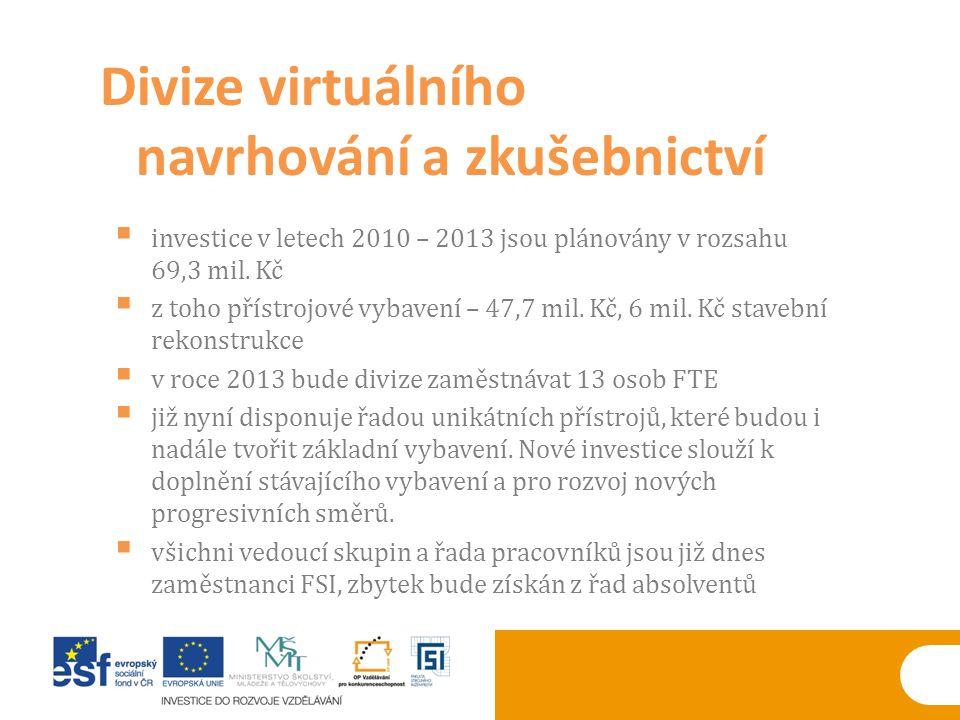  investice v letech 2010 – 2013 jsou plánovány v rozsahu 69,3 mil. Kč  z toho přístrojové vybavení – 47,7 mil. Kč, 6 mil. Kč stavební rekonstrukce 