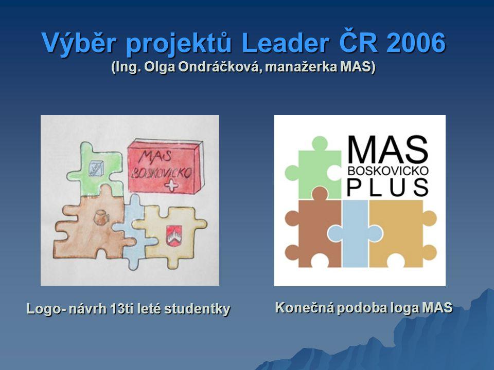Výběr projektů Leader ČR 2006 (Ing. Olga Ondráčková, manažerka MAS) Logo- návrh 13ti leté studentky Konečná podoba loga MAS Konečná podoba loga MAS