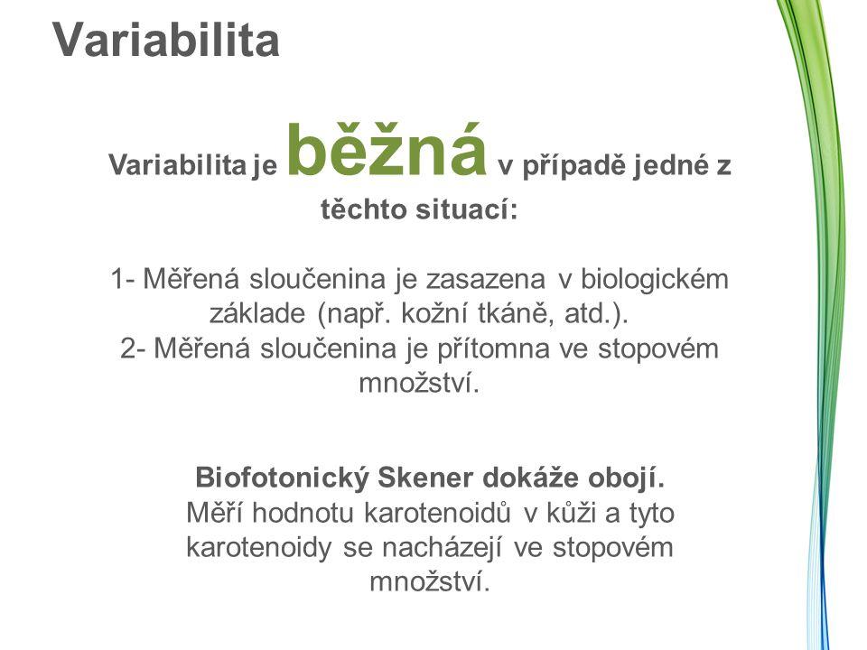 Variabilita Variabilita je běžná v případě jedné z těchto situací: 1- Měřená sloučenina je zasazena v biologickém základe (např. kožní tkáně, atd.). 2