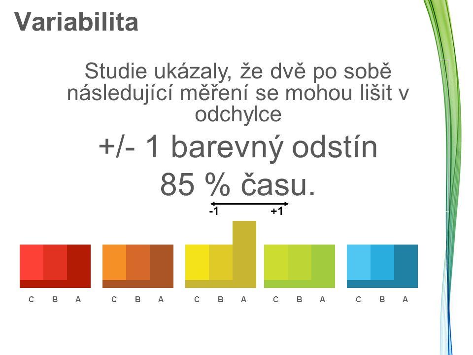 Variabilita Studie ukázaly, že dvě po sobě následující měření se mohou lišit v odchylce +/- 1 barevný odstín 85 % času. +1 CBACBACBACBACBA