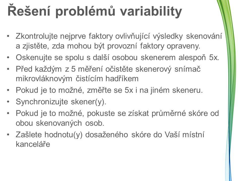 Řešení problémů variability Zkontrolujte nejprve faktory ovlivňující výsledky skenování a zjistěte, zda mohou být provozní faktory opraveny. Oskenujte