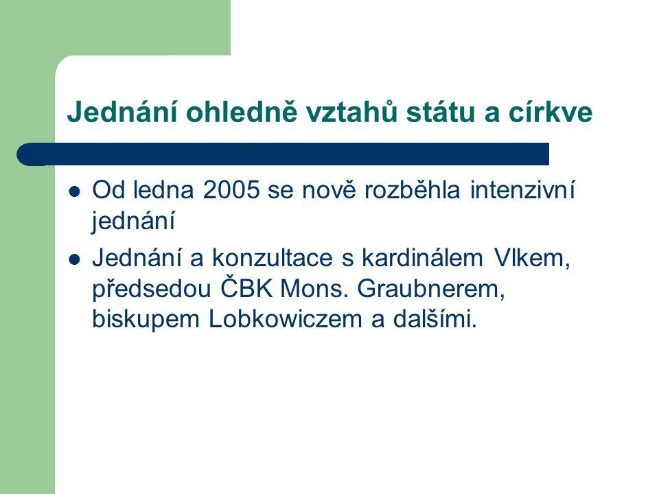 Jednání ohledně vztahů státu a církve Od ledna 2005 se nově rozběhla intenzivní jednání Jednání a konzultace s kardinálem Vlkem, předsedou ČBK Mons.