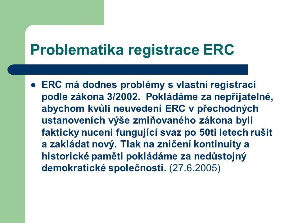 Problematika registrace ERC ERC má dodnes problémy s vlastní registrací podle zákona 3/2002.