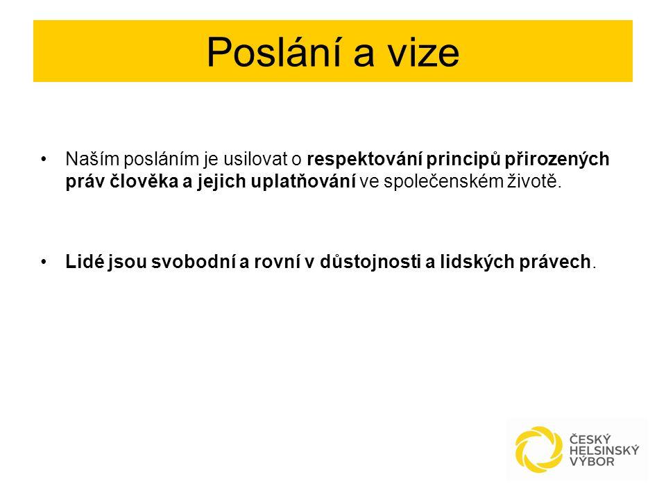 Hlavní oblast působení Monitorování úrovně dodržování a ochrany lidských práv v České republice.