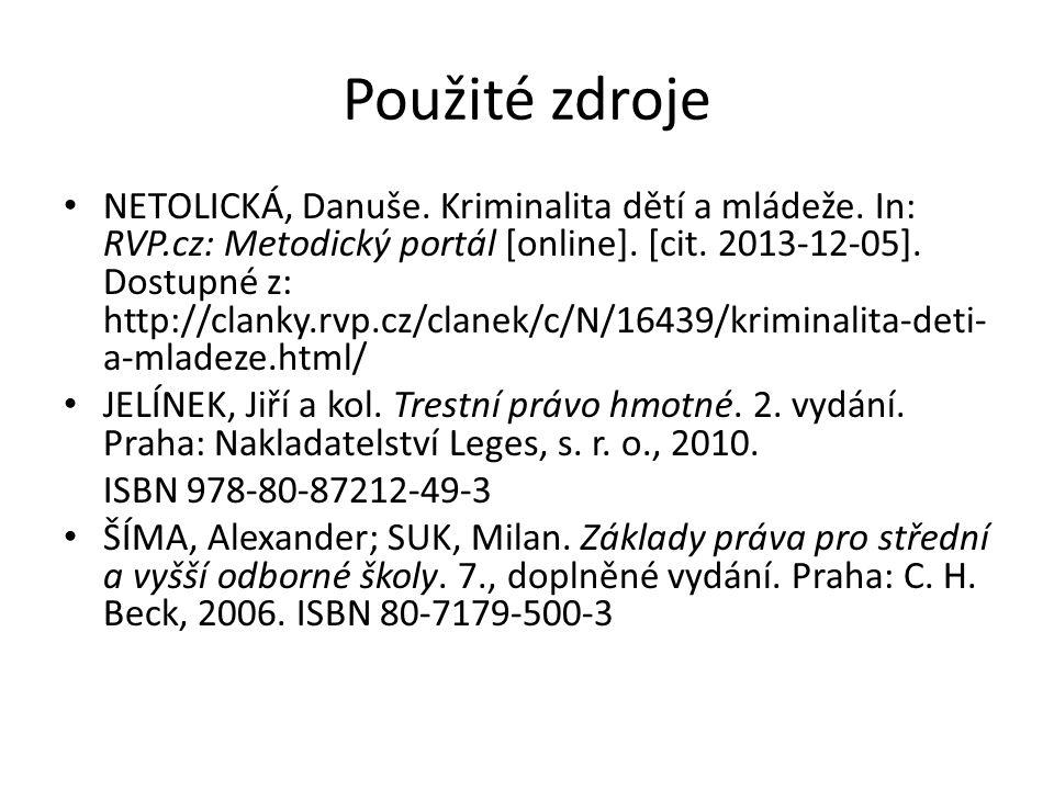 Použité zdroje NETOLICKÁ, Danuše. Kriminalita dětí a mládeže. In: RVP.cz: Metodický portál [online]. [cit. 2013-12-05]. Dostupné z: http://clanky.rvp.