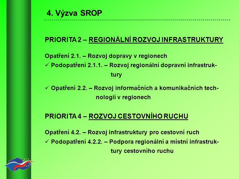 4.Výzva SROP PRIORITA 2 – REGIONÁLNÍ ROZVOJ INFRASTRUKTURY Opatření 2.1.