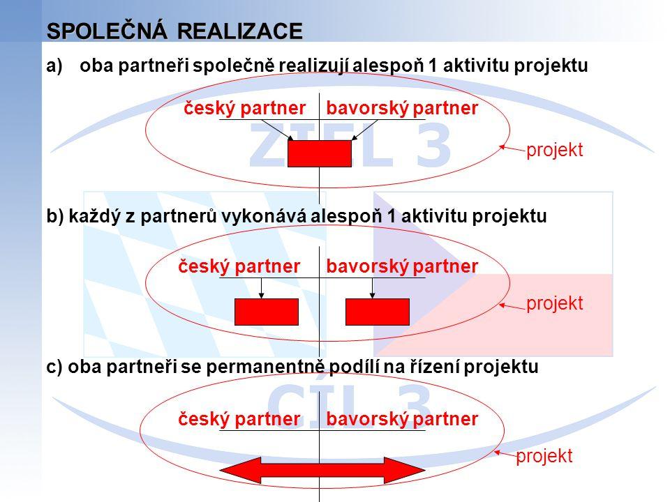 SPOLEČNÁ REALIZACE a)oba partneři společně realizují alespoň 1 aktivitu projektu b) každý z partnerů vykonává alespoň 1 aktivitu projektu c) oba partn