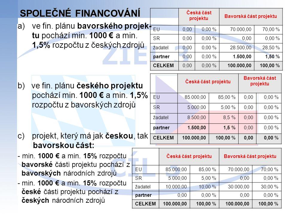 SPOLEČNÉ FINANCOVÁNÍ a)ve fin. plánu bavorského projek- tu pochází min. 1000 € a min. 1,5% rozpočtu z českých zdrojů b) ve fin. plánu českého projektu