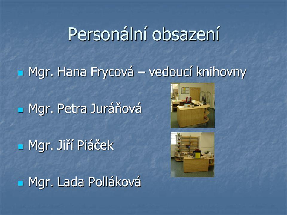 Personální obsazení Mgr. Hana Frycová – vedoucí knihovny Mgr. Hana Frycová – vedoucí knihovny Mgr. Petra Juráňová Mgr. Petra Juráňová Mgr. Jiří Piáček
