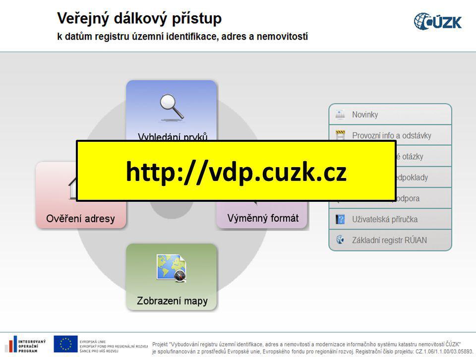 Výměnný formát RÚIAN (VFR) 21.10.2014 Novinky v registru RÚIAN http://vdp.cuzk.cz