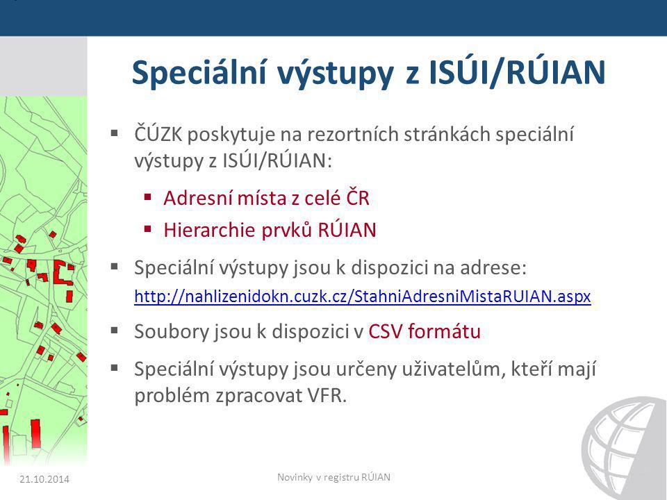 Speciální výstupy z ISÚI/RÚIAN  ČÚZK poskytuje na rezortních stránkách speciální výstupy z ISÚI/RÚIAN:  Adresní místa z celé ČR  Hierarchie prvků R