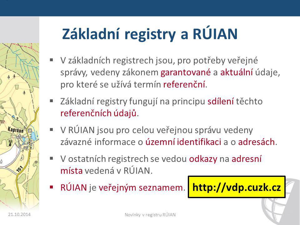 Základní registry a RÚIAN  V základních registrech jsou, pro potřeby veřejné správy, vedeny zákonem garantované a aktuální údaje, pro které se užívá