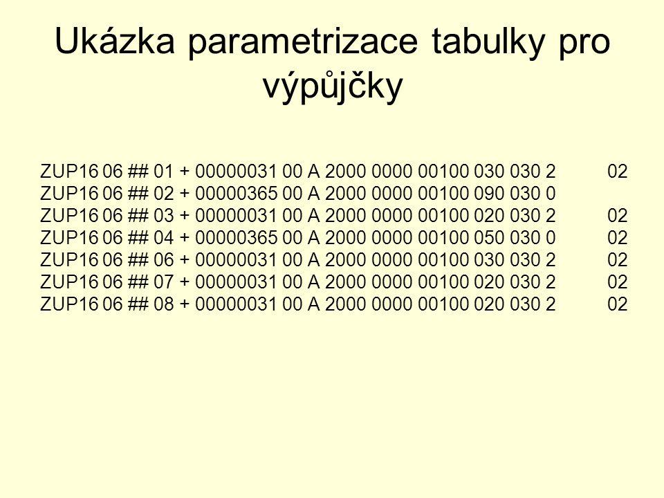 Ukázka parametrizace tabulky pro výpůjčky ZUP16 06 ## 01 + 00000031 00 A 2000 0000 00100 030 030 2 02 ZUP16 06 ## 02 + 00000365 00 A 2000 0000 00100 0
