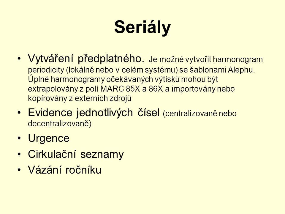 Seriály Vytváření předplatného. Je možné vytvořit harmonogram periodicity (lokálně nebo v celém systému) se šablonami Alephu. Úplné harmonogramy očeká