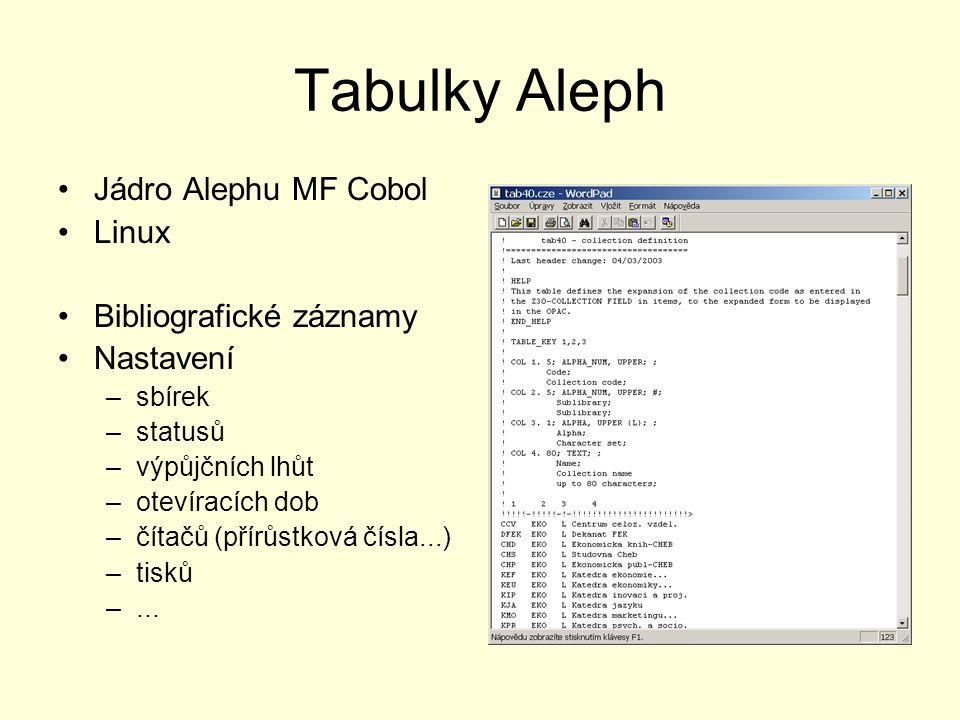 Tabulky Aleph Jádro Alephu MF Cobol Linux Bibliografické záznamy Nastavení –sbírek –statusů –výpůjčních lhůt –otevíracích dob –čítačů (přírůstková čís