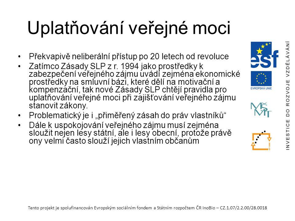 Tento projekt je spolufinancován Evropským sociálním fondem a Státním rozpočtem ČR InoBio – CZ.1.07/2.2.00/28.0018 Uplatňování veřejné moci Překvapivě neliberální přístup po 20 letech od revoluce Zatímco Zásady SLP z r.