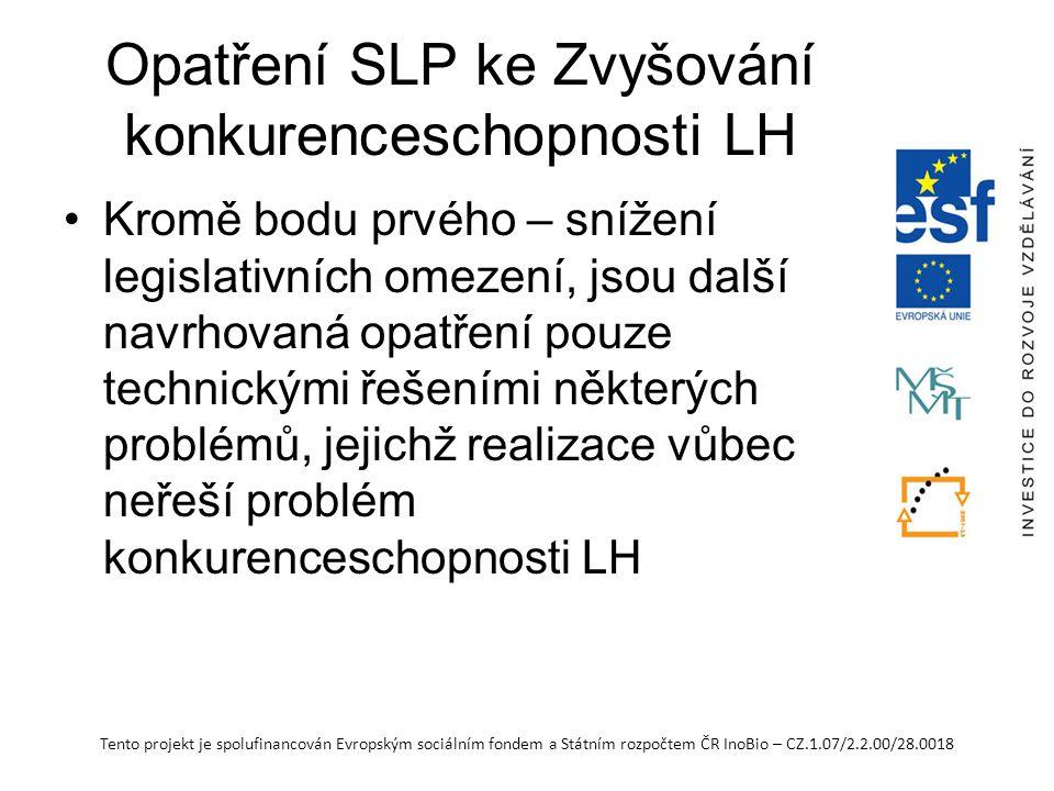 Tento projekt je spolufinancován Evropským sociálním fondem a Státním rozpočtem ČR InoBio – CZ.1.07/2.2.00/28.0018 Opatření SLP ke Zvyšování konkurenceschopnosti LH Kromě bodu prvého – snížení legislativních omezení, jsou další navrhovaná opatření pouze technickými řešeními některých problémů, jejichž realizace vůbec neřeší problém konkurenceschopnosti LH