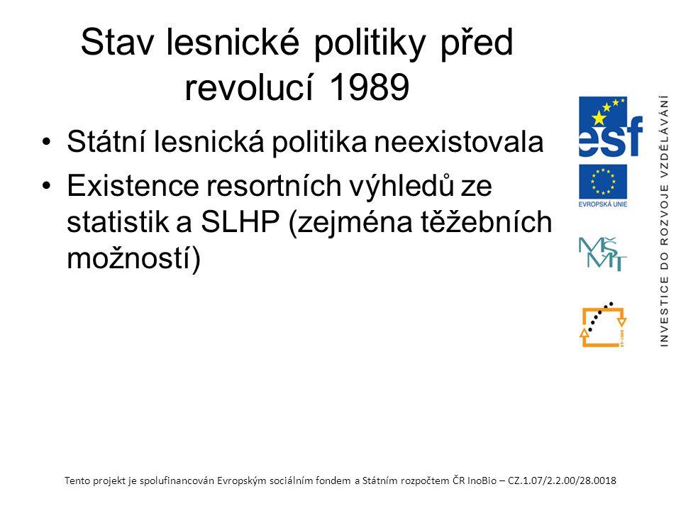 Tento projekt je spolufinancován Evropským sociálním fondem a Státním rozpočtem ČR InoBio – CZ.1.07/2.2.00/28.0018 Stav lesnické politiky před revolucí 1989 Státní lesnická politika neexistovala Existence resortních výhledů ze statistik a SLHP (zejména těžebních možností)