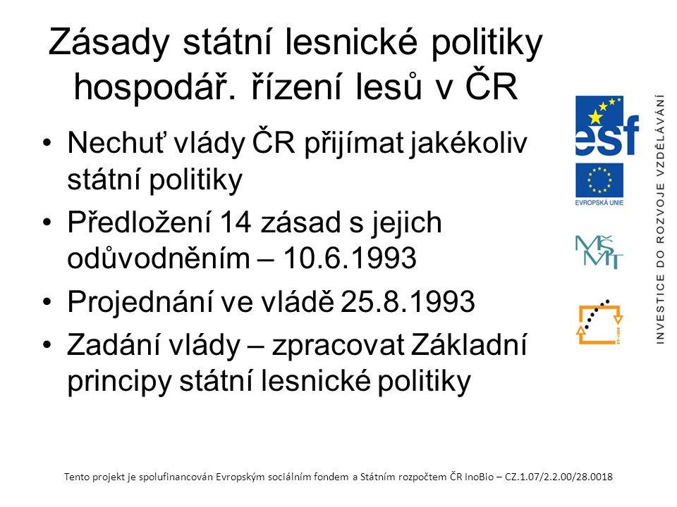 Tento projekt je spolufinancován Evropským sociálním fondem a Státním rozpočtem ČR InoBio – CZ.1.07/2.2.00/28.0018 Zásady státní lesnické politiky hospodář.