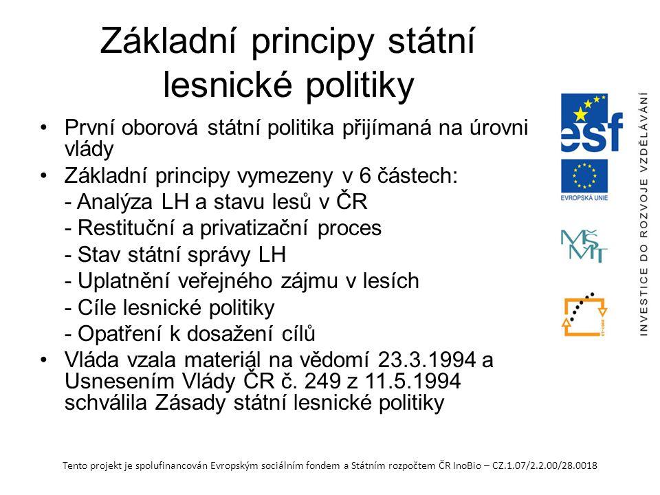 Tento projekt je spolufinancován Evropským sociálním fondem a Státním rozpočtem ČR InoBio – CZ.1.07/2.2.00/28.0018 Základní principy státní lesnické p