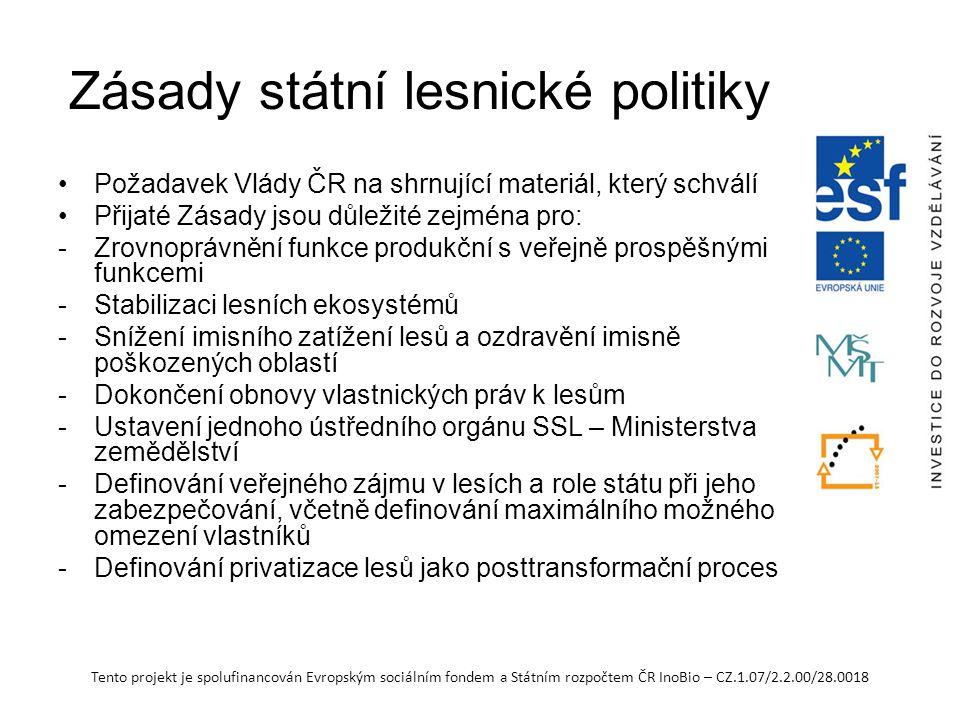 Tento projekt je spolufinancován Evropským sociálním fondem a Státním rozpočtem ČR InoBio – CZ.1.07/2.2.00/28.0018 Zásady státní lesnické politiky Požadavek Vlády ČR na shrnující materiál, který schválí Přijaté Zásady jsou důležité zejména pro: -Zrovnoprávnění funkce produkční s veřejně prospěšnými funkcemi -Stabilizaci lesních ekosystémů -Snížení imisního zatížení lesů a ozdravění imisně poškozených oblastí -Dokončení obnovy vlastnických práv k lesům -Ustavení jednoho ústředního orgánu SSL – Ministerstva zemědělství -Definování veřejného zájmu v lesích a role státu při jeho zabezpečování, včetně definování maximálního možného omezení vlastníků -Definování privatizace lesů jako posttransformační proces