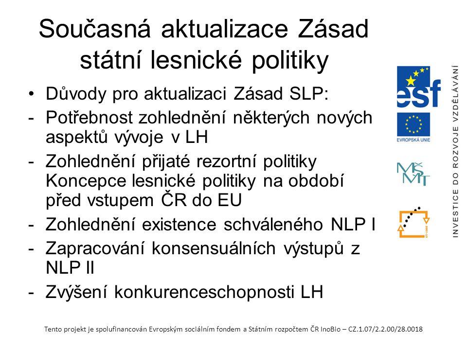 Tento projekt je spolufinancován Evropským sociálním fondem a Státním rozpočtem ČR InoBio – CZ.1.07/2.2.00/28.0018 Současná aktualizace Zásad státní lesnické politiky Důvody pro aktualizaci Zásad SLP: -Potřebnost zohlednění některých nových aspektů vývoje v LH -Zohlednění přijaté rezortní politiky Koncepce lesnické politiky na období před vstupem ČR do EU -Zohlednění existence schváleného NLP I -Zapracování konsensuálních výstupů z NLP II -Zvýšení konkurenceschopnosti LH
