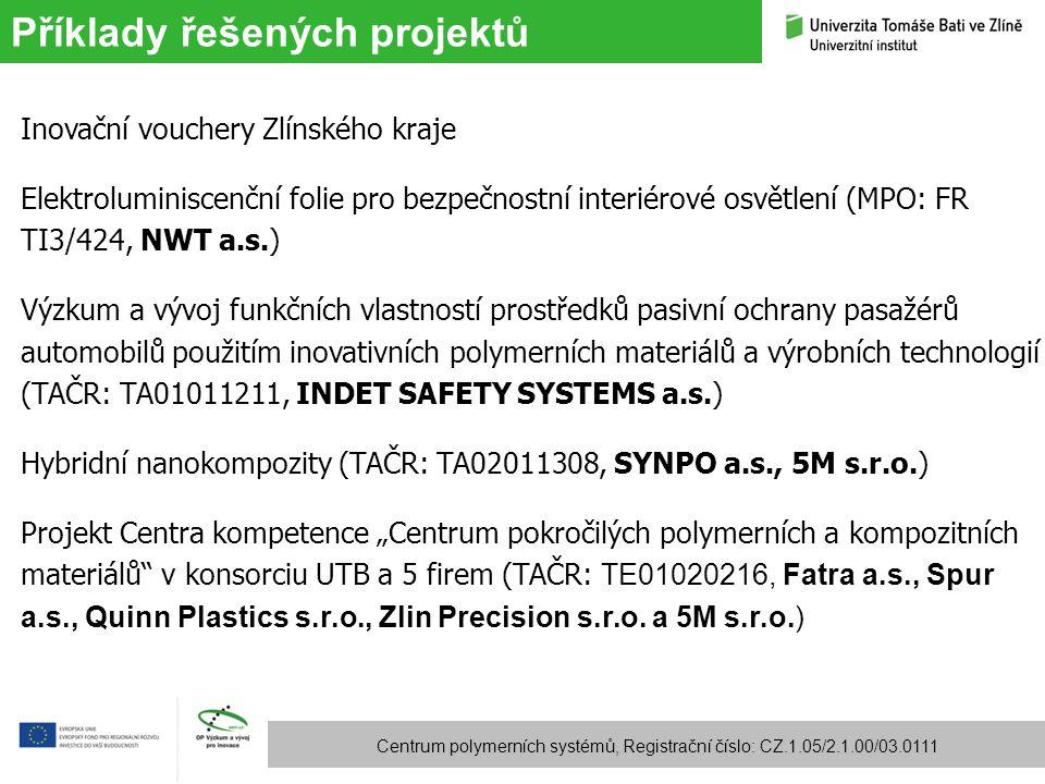 Příklady řešených projektů Centrum polymerních systémů, Registrační číslo: CZ.1.05/2.1.00/03.0111 Inovační vouchery Zlínského kraje Elektroluminiscenč