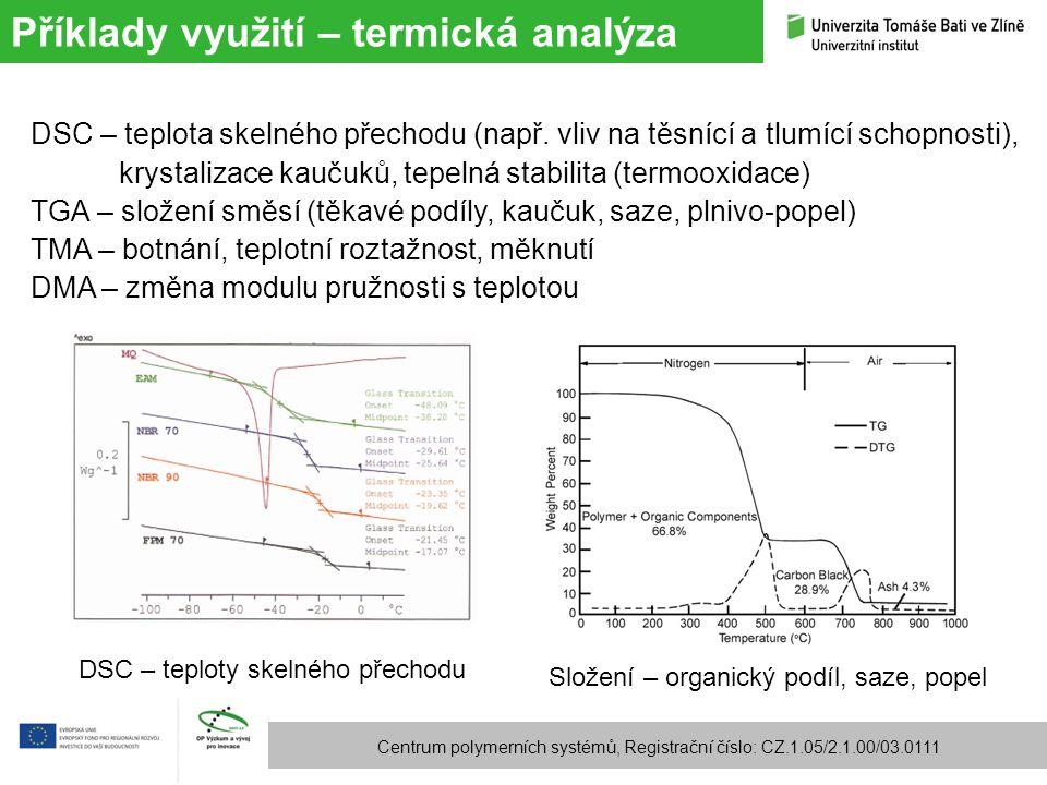 Příklady využití – termická analýza Centrum polymerních systémů, Registrační číslo: CZ.1.05/2.1.00/03.0111 DSC – teplota skelného přechodu (např. vliv