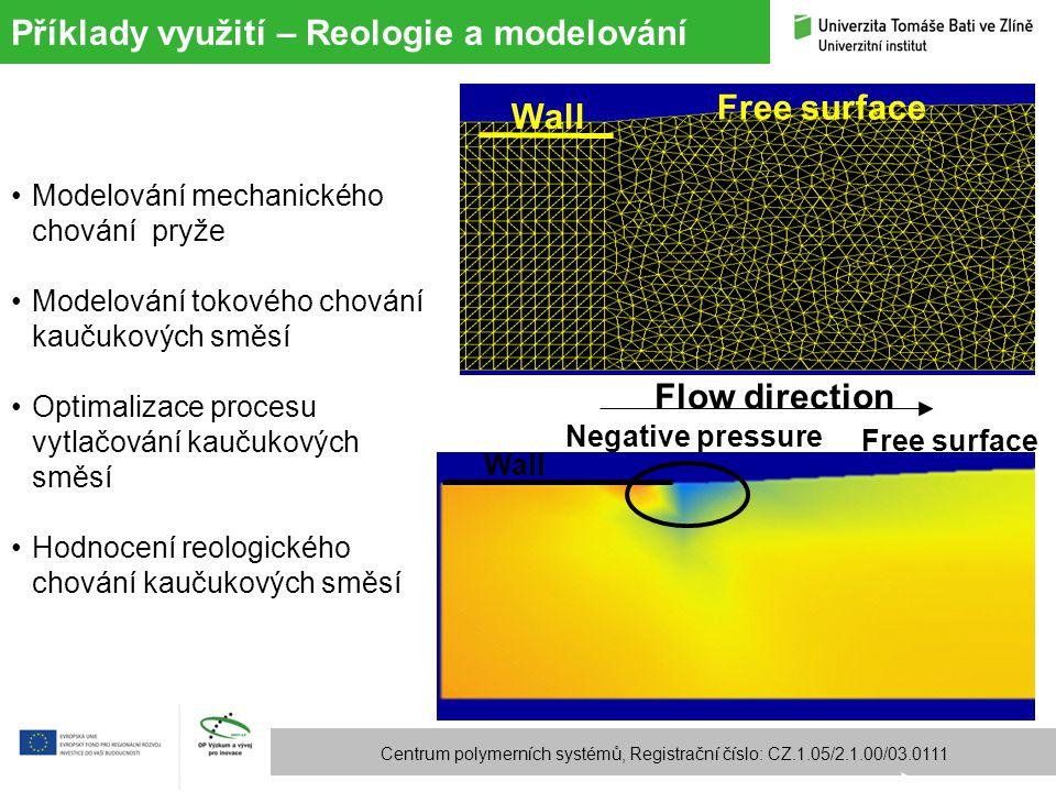 Příklady využití – Reologie a modelování Centrum polymerních systémů, Registrační číslo: CZ.1.05/2.1.00/03.0111 Wall Free surface Negative pressure Fl