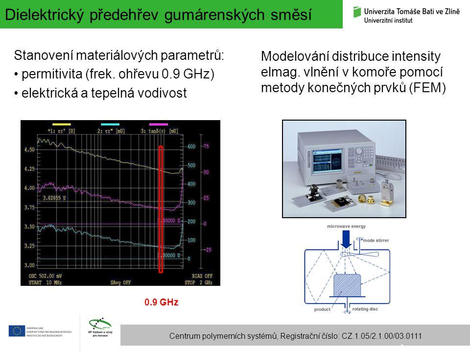 Dielektrický předehřev gumárenských směsí Centrum polymerních systémů, Registrační číslo: CZ.1.05/2.1.00/03.0111 Stanovení materiálových parametrů: pe