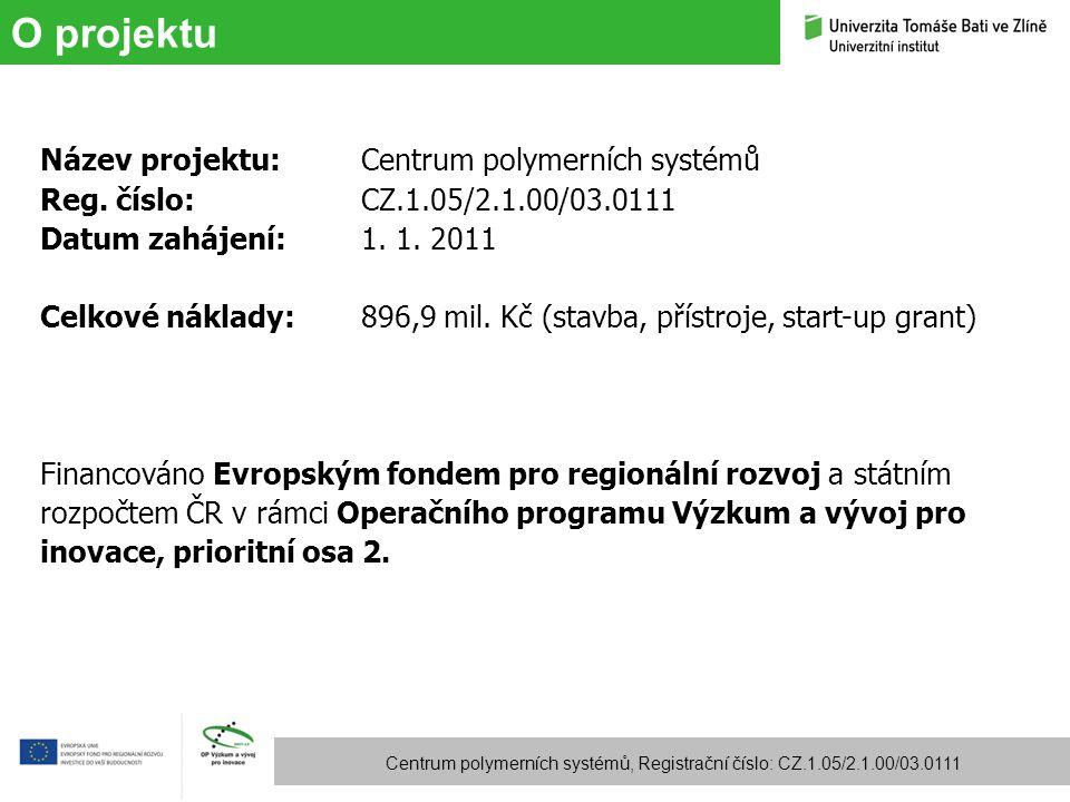 Cíle projektu Centrum polymerních systémů, Registrační číslo: CZ.1.05/2.1.00/03.0111 Cílem vybodování Centra polymerních systémů je podstatným způsobem rozšířit stávající výzkumnou infrastrukturu UTB a vytvořit dynamickou výzkumnou jednotku s dlouhodobou udržitelností.