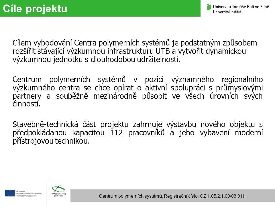 Cíle projektu Centrum polymerních systémů, Registrační číslo: CZ.1.05/2.1.00/03.0111 Cílem vybodování Centra polymerních systémů je podstatným způsobe