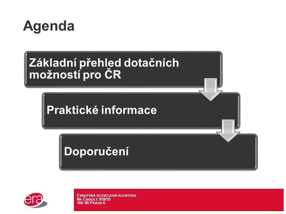 E VROPSKÁ ROZVOJOVÁ AGENTURA N A Č IHADLE 959/55 160 00 P RAHA 6 Agenda Základní přehled dotačních možností pro ČR Praktické informaceDoporučení